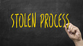 Stolen Process concept. Hand writing stolen process with marker against blackboard.