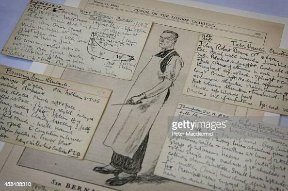 Hand written autopsy index cards surround an illustration of pathologist Sir Bernard Spilsbury at Barts Pathology Museum on November 5 2014 in London...