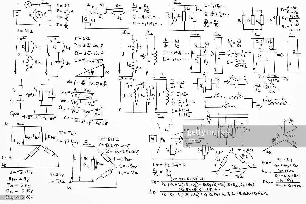 Hand Written Formulas of Electrotechnics and Electronics on White Background