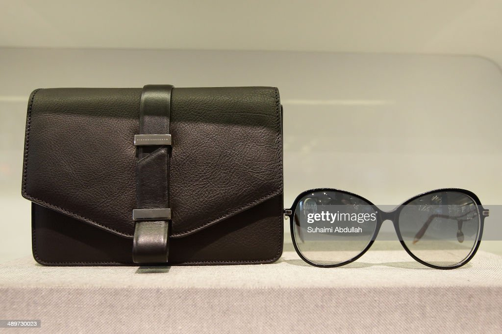 A handbag and sunglasses of Victoria Beckham label are seen at On Pedder at Scotts Square on May 12, 2014 in Singapore. Victoria Beckham is in Singapore for the first time to showcase her ready-to-wear pieces from her eponymous fashion label in Singapore