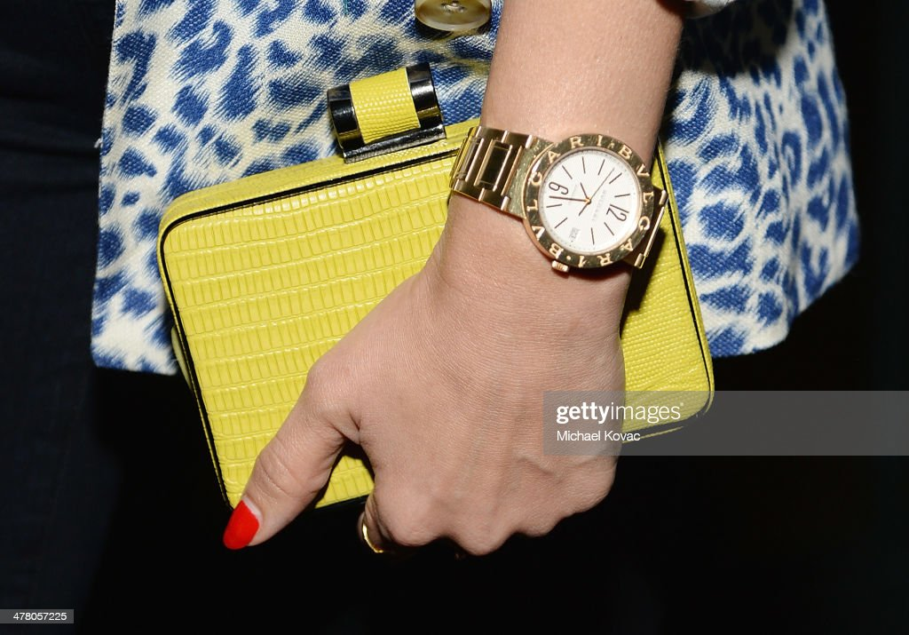 Handbag carried by actress <a gi-track='captionPersonalityLinkClicked' href=/galleries/search?phrase=Jessica+Alba&family=editorial&specificpeople=201811 ng-click='$event.stopPropagation()'>Jessica Alba</a> (handbag detail) at Anthropologie Celebrates A Denim Story by Emily Current, Meritt Elliott and Hilary Walsh at PaliHotel on March 11, 2014 in Los Angeles, California.