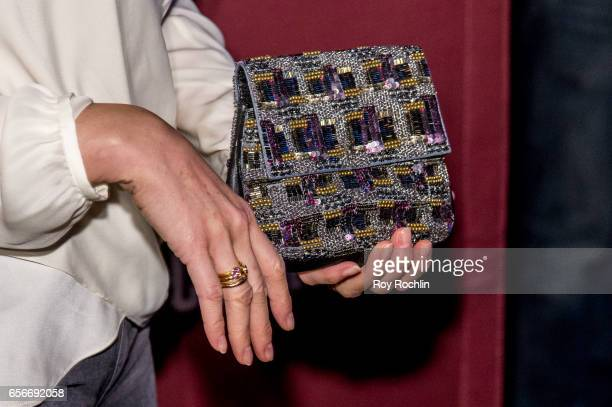Handbag detail of actress Katie Finneran as she attends the 'Brockmire' red carpet event at 40 / 40 Club on March 22 2017 in New York City