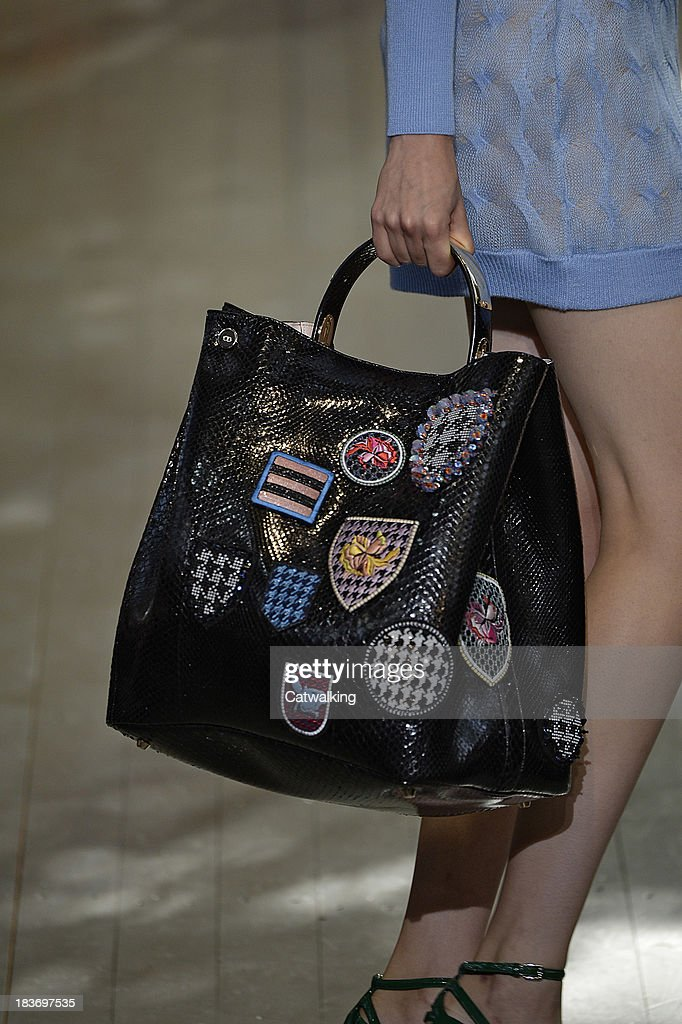 A handbag detail on the runway at the Christian Dior Spring Summer 2014 fashion show during Paris Fashion Week on September 27 2013 in Paris France