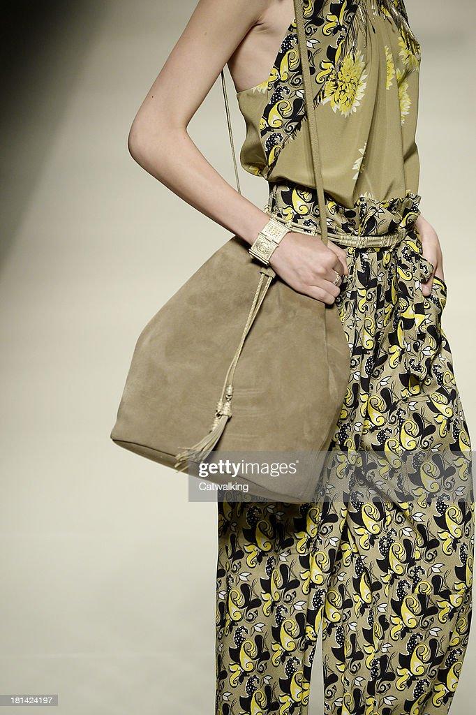 Handbag detail on the runway at the Etro Spring Summer 2014 fashion show during Milan Fashion Week on September 20, 2013 in Milan, Italy.