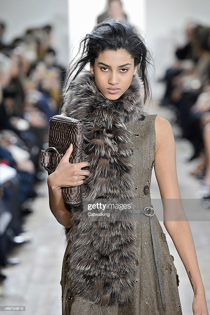 A handbag detail on the runway at the Michael Kors Autumn Winter 2014 fashion show during New York Fashion Week on February 12, 2014 in New York, United States.