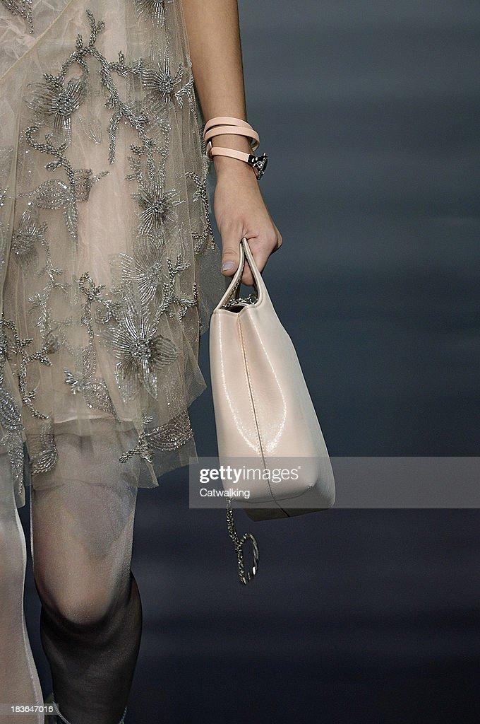 A handbag on the runway at the Emporio Armani Spring Summer 2014 fashion show during Milan Fashion Week on September 29, 2013 in Milan, Italy.
