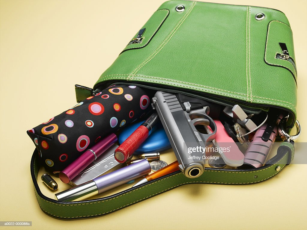 Handbag with Spilled Contents : Stock Photo