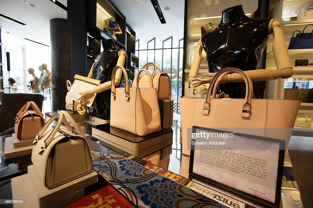 Handbags of Victoria Beckham label are seen at On Pedder at Scotts Square on May 12, 2014 in Singapore. Victoria Beckham is in Singapore for the first time to showcase her ready-to-wear pieces from her eponymous fashion label in Singapore