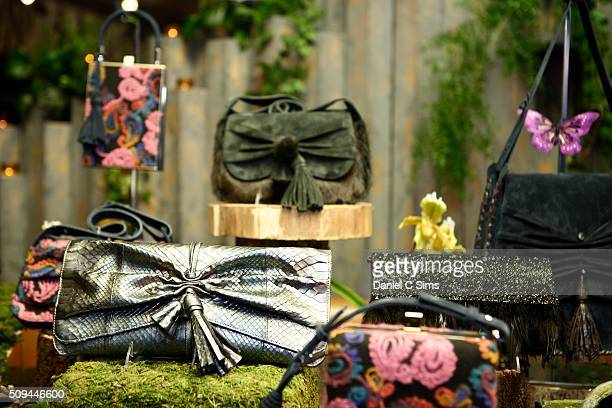 Handbags on display at the Jill Haber fashion presentation during Fall 2016 New York Fashion Week on February 10 2016 in New York City