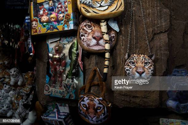 Handbags with images of tigers are seen for sale at the Heilongjiang Siberian Tiger Park on August 16 2017 in Harbin northern China The center is one...