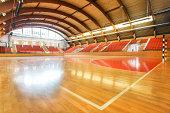 Modern handball court in a school gymnasium