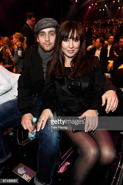 Handball goal keeper Silvio Heinevetter and actress Simone Thomalla attend the Echo Award 2010 at Palais am Funkturm on March 4 2010 in Berlin Germany