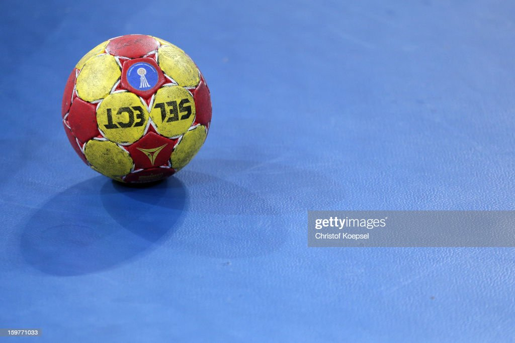 A handball is lying on the pitch during the round of sixteen match between Germany and Macedonia at Palau Sant Jordi on January 20, 2013 in Barcelona, Spain.