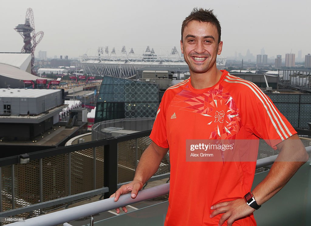 Handball player Momir Ilic of Serbia at the adidas Olympic Media Lounge at Westfield Stratford City on July 27, 2012 in London, England.