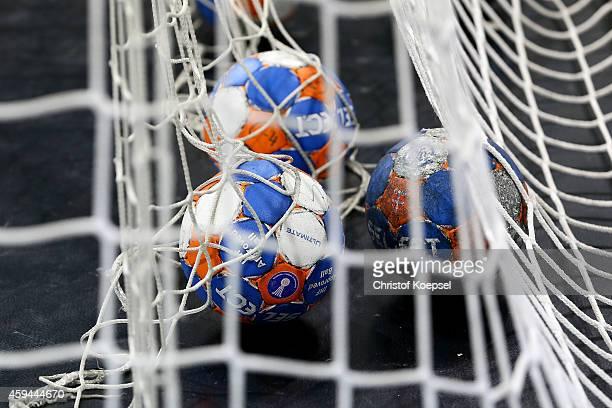 Handballs lie in the goal prior to the DKB Handball Bundesliga match between VfL Gummersbach and TBV Lemgo at Schwalbe Arena on November 22 2014 in...