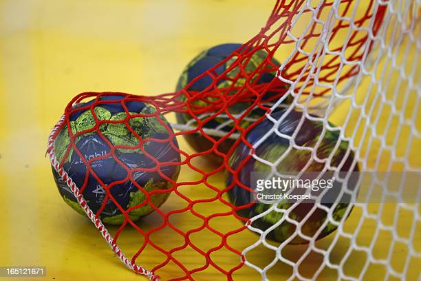 Handballs lie in the net during the DKB Handball Bundesliga match between TUSEM Essen and Tus NLuebbecke at the Sportpark Am Hallo on March 31 2013...