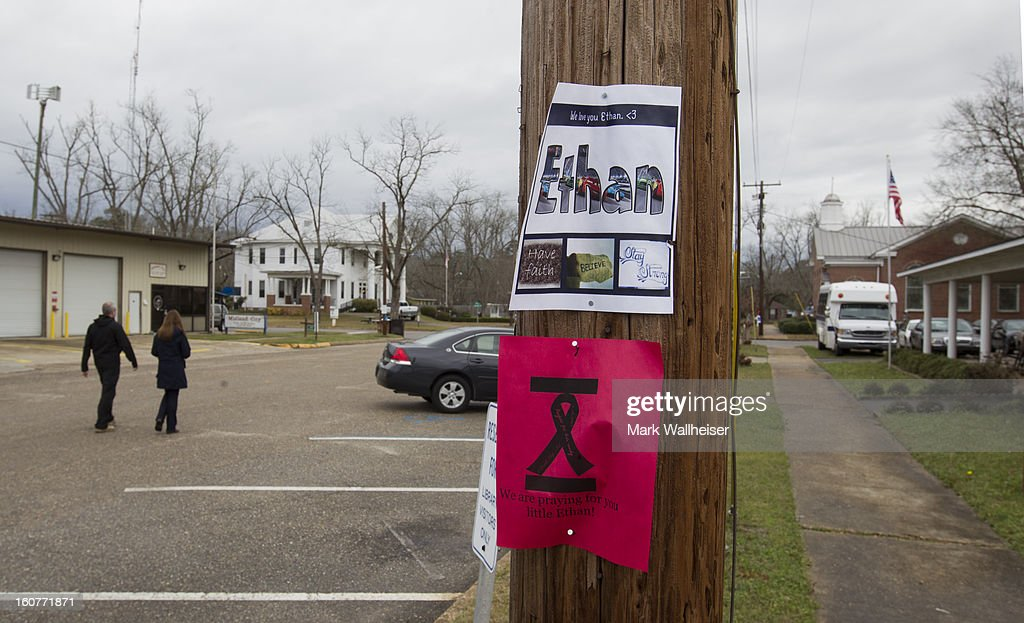 Handbills supporting the 5 year old boy named Ethan in the small downtown area of Midland City, Alabama February 5, 2013 in Midland City, Alabama. Ethan was abducted from a school bus and held hostage for 6 days in this southwest Alabama town before being rescued when the FBI stormed the bunker killing suspect, Jimmy Lee Dykes.