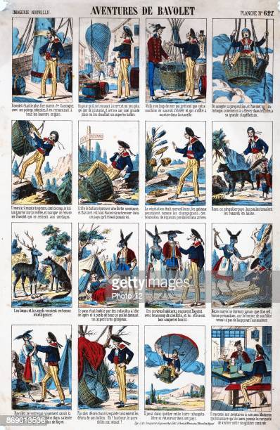 Handcoloured comic titled 'Adventures de Baolet' The comic depicts Bavolet a sailor travelling by balloon to an unknown country where the animals...