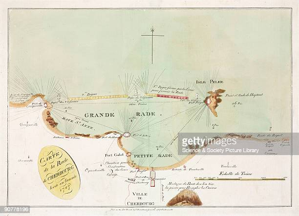 Handcoloured engraving titled �Carte de la Rade de Cherbourg levee en l�annee 1787� It shows a map of Cherbourg Roads off the coast of Normandy with...