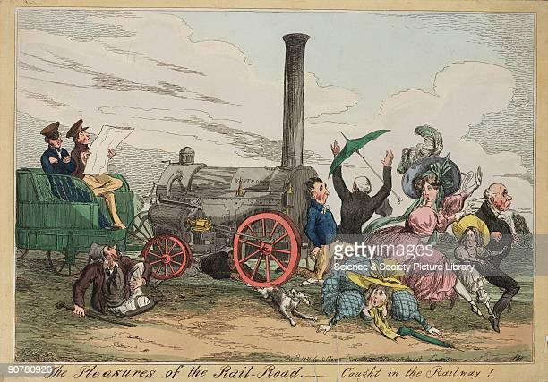 Handcoloured etching by Henry Heath showing a runaway locomotive chasing a small group of people The locomotive shown in this cartoon is the...