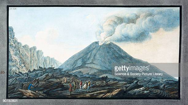 Handcoloured etching by Peter Fabris after his own drawing Illustrated plate from William Hamilton's study of Italian volcanoes 'Campi Phlegraei' A...