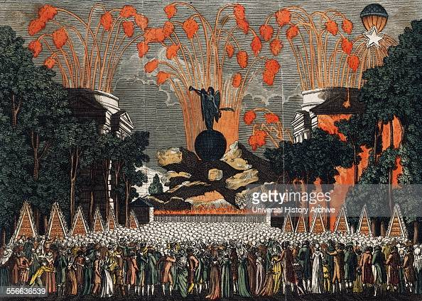 Handcoloured etching depicting a crowd viewing fireworks on Bastille Day celebration in Paris Dated 1801
