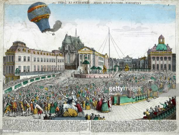 Handcoloured etching depicting the hotair balloons released by the Montgolfier Brothers ascending from the Palace of Versailles before the Royal...