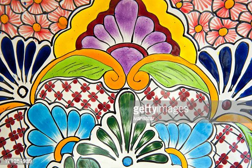 Handcrafted Mexican Ceramic Pottery Detail, Talavera