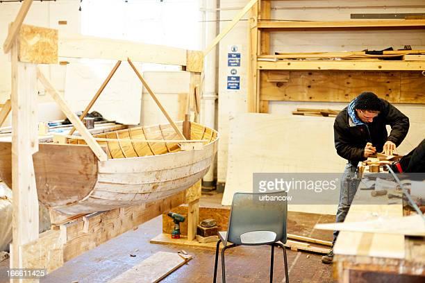Aviron bateau en bois fabriqué à la main