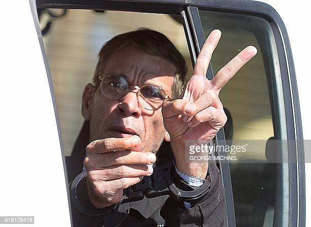 Handcuffed Seif alDin Mohamed Mostafa an Egyptian man who hijacked an EgyptAir passenger plane the previous day and forced it to divert to Cyprus...