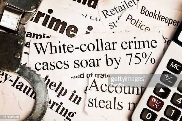 Handschelle und die Rechenfunktion für Schlagzeilen über Wirtschaftskriminalität