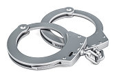 Handcuffs closeup, 3D rendering isolated on white background