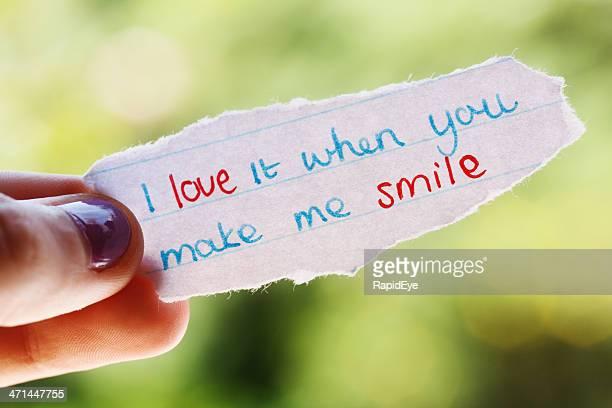 Handgezeichnete Nachricht: Ich liebe es, wenn Sie mich zu Lächeln