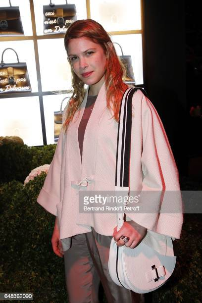 Hande Kodja attend Delvaux Cocktail as part of Paris Fashion Week Womenswear at Jardin du Palais Royal on March 5 2017 in Paris France