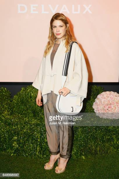Hande Kodja attends the Delvaux Cocktail Paris Fashion Week Womenswear Fall/Winter 2017/2018 at Jardin du Palais Royal on March 5 2017 in Paris France