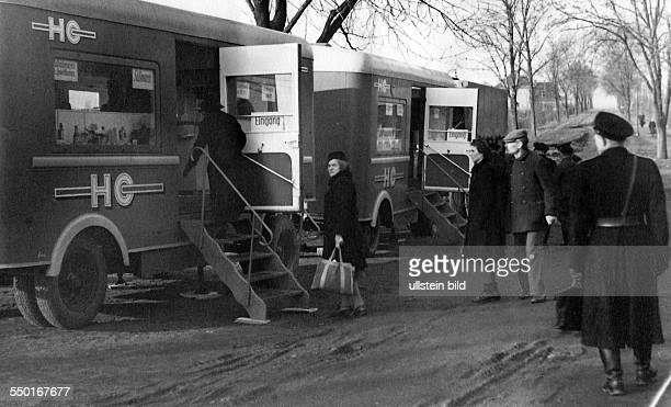 Handelsorganisation setting up national retail business in the Soviet Zone of occupation in Germany mobile grocery stores in the suburbs of East...