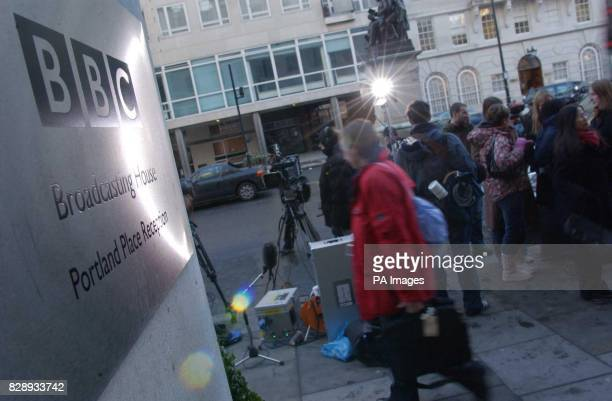 A handful of BBC employees gather outside the BBC Headquarters on Portland Place London in protest at the resignation of former DirectorGeneral Greg...