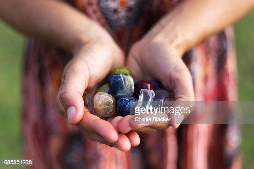 Handfull of Gemstones : Stock Photo