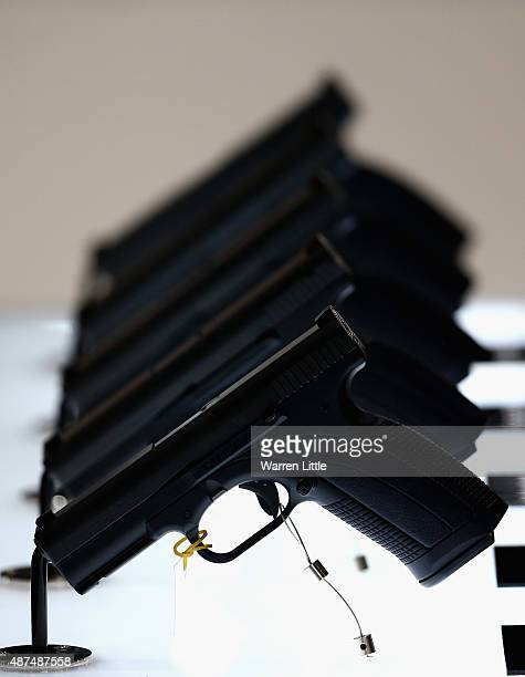 Handguns are pictured on display at Abu Dhabi National Exhibition Centre on September 9 2015 in Abu Dhabi United Arab Emirates