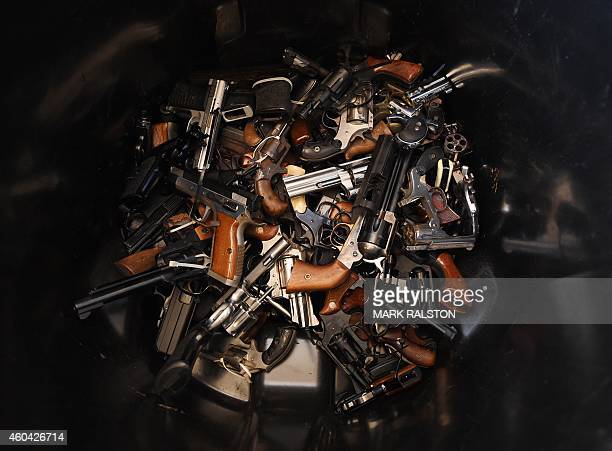 Handguns that were swapped for gift cards during a Los Angeles Police Department sponsored gun buyback event in Los Angeles California on December 13...