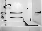 The fold down seat helps the disabled and handicap use the shower easier with access at the height of a wheelchair. The adjustable shower handle allows multiple heights for use. The wall handles help
