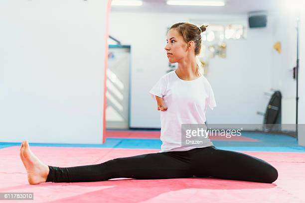 Handicapped athlete stretching for training