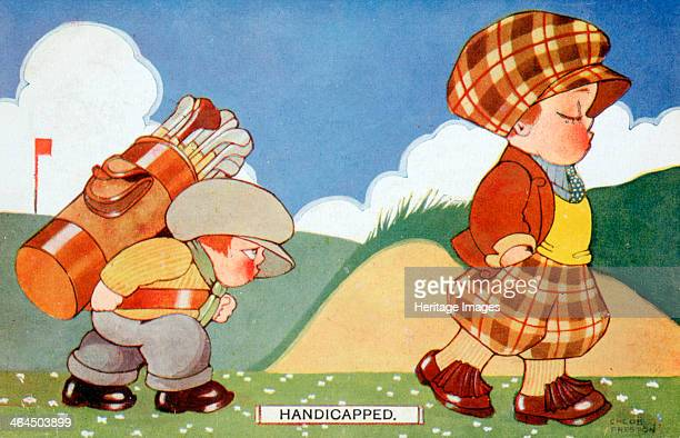 Handicapped Golfing postcard c1920s