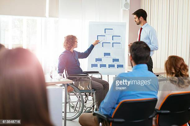 Handicapped person on seminar explains corporate hierarchy