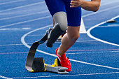 athlete with handicap starts the race