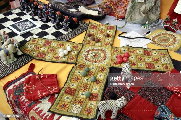 Handicrafts products stall at Kisan Haat Andheria Modh Anuvrat Marg Desu Colony on February 18 2015 in New Delhi India
