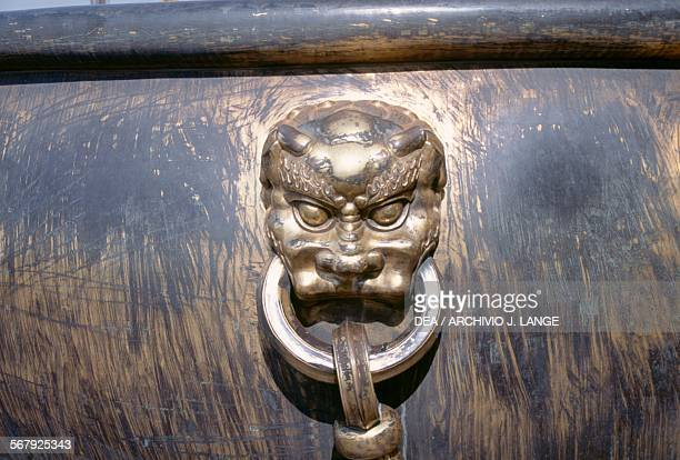 Handle with mask bronze water container near the Hall of Supreme Harmony Forbidden City Beijing China 15th century