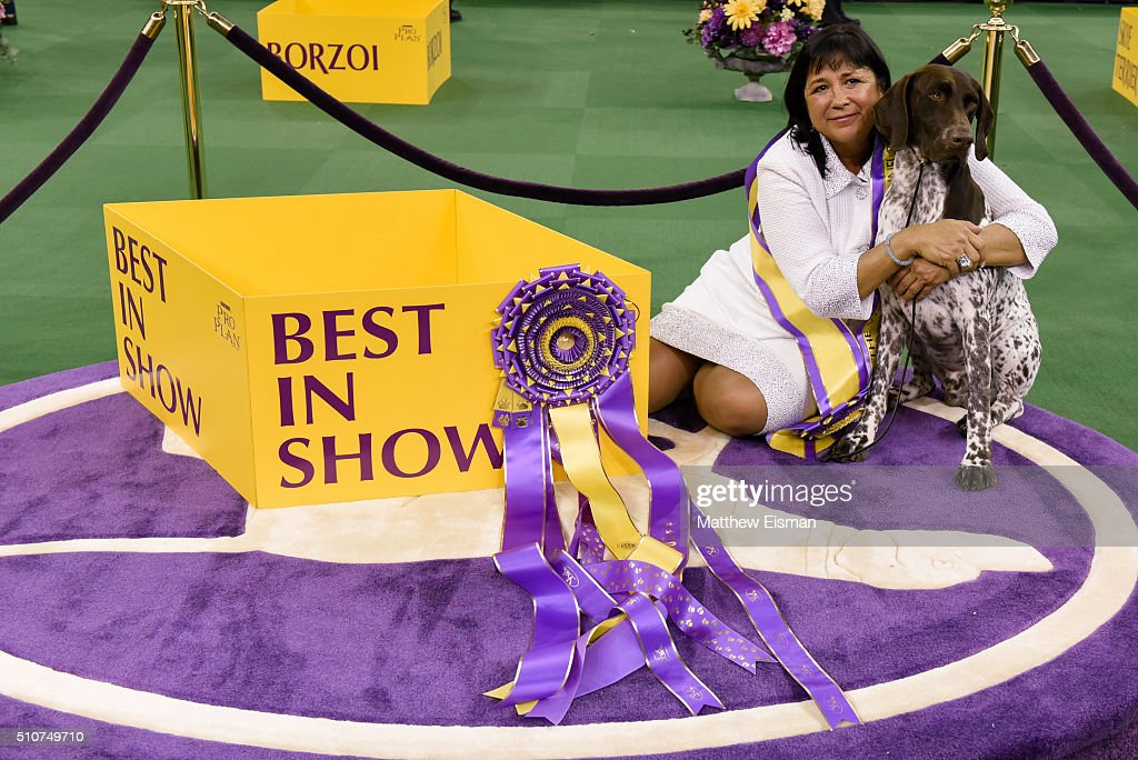 Handler Valerie NunesAtkinson and her dog CJ a German Shorthaired Pointer win Best in Show competition at the 140th Annual Westminster Kennel Club...