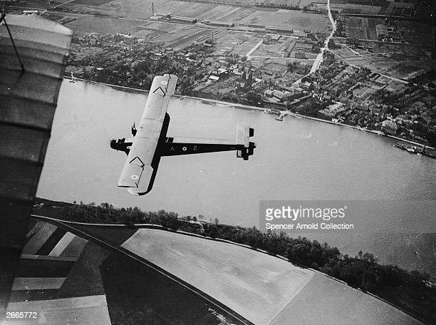 An RAF Handley Page 0/400 bomber of 48 Squadron flying over the Rhine and Bonn as part of Britain's occupation duties