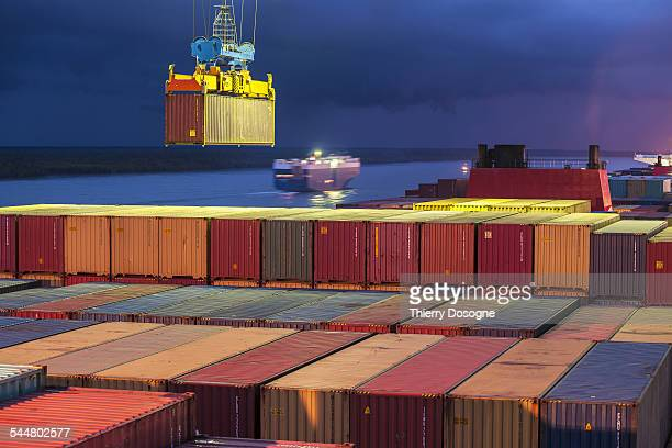 Handling on container ship in Port Klang. Malaysia